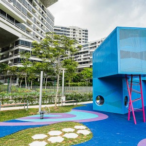 To play is to learn from mimicking each other. In few cases, this also applies to designing play. While most playgrounds are a contrast to their surroundings - in colour, shape and activity – the new Interlace playground is the mini-version of the surrounding residences.