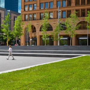Xcel Energy Plaza is a flexible urban plaza constructed atop an electrical substation powering all of downtown Minneapolis.