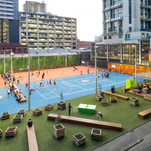 A'Beckett Urban Square is a temporary 'pop-up' recreational space that has become an instant magnet for students and young urban dwellers. Located behind the Swanston Academic Building the site had been used by RMIT University for many years as an open air car park. While the site awaits redevelopment, RMIT has generously opted to turn this underutilised and derelict space into a publically-accessible 2,800 square metre 'pop-up' park incorporating multi-use sports courts ...