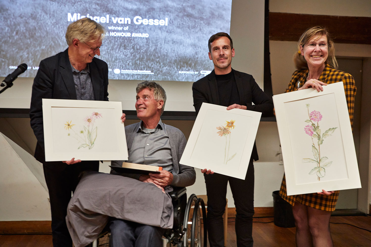 The 2019 LILA Honour Award ceremony took place at the Academy of Architecture in Amsterdam on Saturday, November 2nd, 2019. Editor-in-chief of Landezine, Zaš Brezar, presented the award statement and invited three experts to speak about the work of the award winner Michael van Gessel: Marc Treib, Lisa Diedrich and Frits Palmboom. After the presentation of the award, Van Gessel gave his recent paintings to the speakers present at the event.