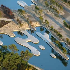 In a former sand quarry, a new botanic garden has been completed, one that allows visitors to follow a metaphorical journey of water through the Australian landscape, from the desert to the coastal fringe.