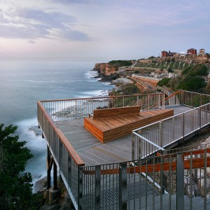 The Bondi to Bronte coast walk is a part of the nationally significant 9km coastal walk from Sydney's South Head to Maroubra. The project resolves complex geotechnical, structural and heritage conditions to retain the significant cliff top heath community and the remarkable hanging swamps along the exposed sandstone platforms.