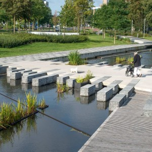 The Brink Park, unlike the name suggests, was no park. It was evident it wasn't seen as a park as even the city map of Apeldoorn did not indicate the space as a park; parked cars and buses dominated the space. The challenge was to transform the space into a park with facilities for different users whilst meeting the required parking; this was achieved by constructing an underground car park and park above.