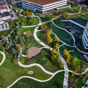 In the city of Bagsværd, North of Copenhagen, Novo Nordisk has erected its new corporate headquarter. The headquarter, which houses the company's top management and 1.100 administrative staff, is located in a large, public park, designed by SLA Architects.